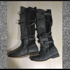 Shoes - Grey Two Toned Velvet Boots
